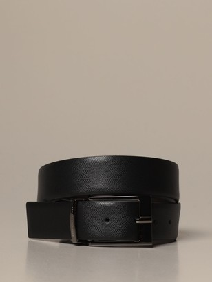 Armani Exchange Belt In Smooth Leather And Reversible Saffiano