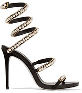 Rene Caovilla Embellished Suede And Leather Sandals - Black