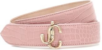 Jimmy Choo Felisa mock-croc leather belt
