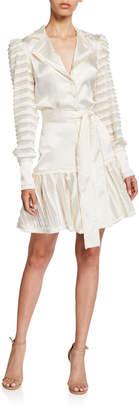 Alexis Renita Sheer-Panel Long-Sleeve Dress