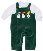 Florence Eiseman Velvet Overalls w/ Jersey Polo, Green, Size 3-24 Months