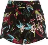 River Island Womens Black tropical floral print frill shorts