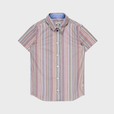 Paul Smith Boys' 7+ Years Short-Sleeve Signature Stripe 'Lennart' Cotton Shirt