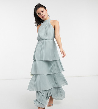 TFNC Petite bridesmaid high neck tiered maxi dress in sage