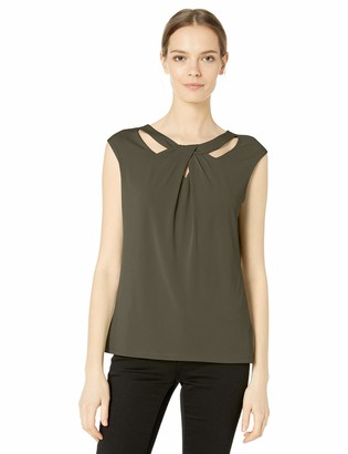 Kasper Women's Cap Sleeve Solid Key Hole ITY