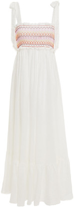 Zimmermann Smocked Embroidered Linen-gauze Midi Dress