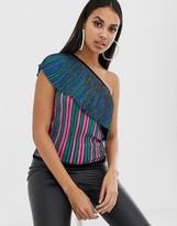 Asos Design DESIGN one shoulder knitted top in metallic multi stripe