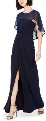 Adrianna Papell Ruched-Cape Gown