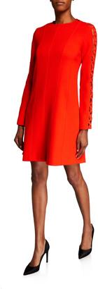 Lela Rose Wave-Trim Tunic Dress