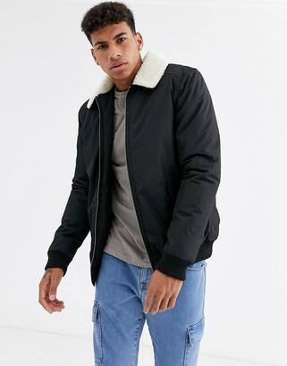Threadbare flight jacket with fleece collar