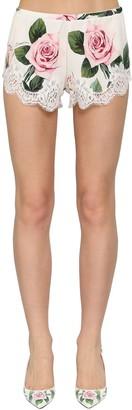 Dolce & Gabbana Printed Silk Charmeuse Shorts W/Lace