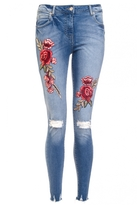 Quiz Light Blue And Red Denim Rip Knee Jeans