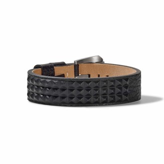 Bulova Mens Precisionist Black Leather Belt-Strap Bracelet with Embossed Pyramid Stud Details (Model J96B010)