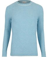 River Island MensLight blue ribbed crew neck slim sweater