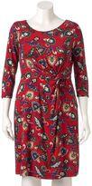 Dana Buchman Plus Size Printed Twist-Front Dress