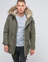 Schott M51 Fishtail Parka Fleece Lined Hood with Detachable Faux Fur Trim