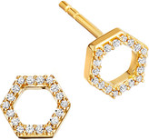 Astley Clarke Honeycomb 14ct yellow gold and diamond stud earrings