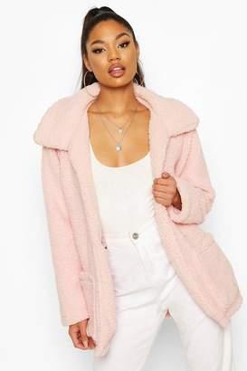 boohoo Double Pocket Teddy Faux Fur Coat