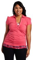 Southpole Juniors Plus Size Plaid Detail Two-Fer Polo With Side Ruching