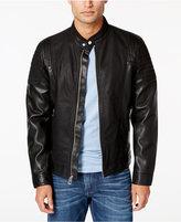 GUESS Men's Abram Faux-Leather Moto Jacket