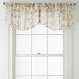 Liz Claiborne Sabra Textured Sheer Rod-Pocket Ascot Valance with Beaded Trim