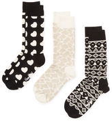 Happy Socks Hearts & Geometric Print Socks (3 PK)