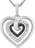 FINE JEWELRY 1/4 CT. T.W. White & Color-Enhanced Black Diamond Sterling Silver Heart Pendant