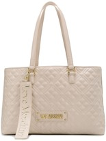Love Moschino quilted logo plaque tote bag