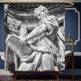 Wanranhome Custom-made shower curtain Sculptures Decor Set Statue of St. Matthew at the Basilica of St. John Lateran in Rome Cthedra with Pillars Bronze For Bathroom Decoration