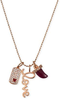 Sydney Evan 14k Rose Gold Diamond & Ruby Love Charm Necklace
