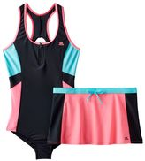 ZeroXposur Girls Plus Size One-Piece Racerback Swimsuit & Skirt Set