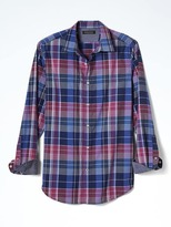 Banana Republic Grant-Fit Custom Wash Dark Plaid Shirt