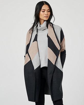 Le Château Stripe Knit Waterfall Sweater Coat