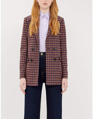 Sandro Checked double-breasted wool-blend blazer