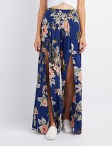 Charlotte Russe Floral Side Slit Palazzo Pants