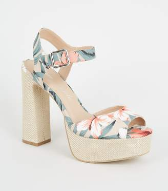 New Look Canvas Floral Woven Platform Block Heels