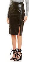 Lucy Paris Angeline Faux-Leather Front Slit Midi Skirt