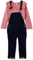 Hudson Heather Jersey Flutter Sleeves Top & Overalls (Toddler Girls)
