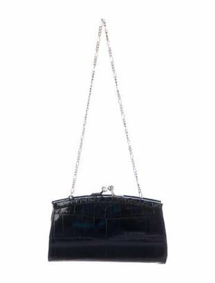 Judith Leiber Crocodile Kiss-Lock Mini Bag Black