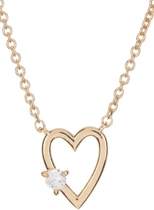 Nadri Gold Plated Prong Set CZ Open Heart Pendant Necklace