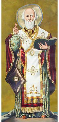 One Kings Lane Vintage Monumental St. Nicholas Painting - Artifax Antiques - gold/white/multi