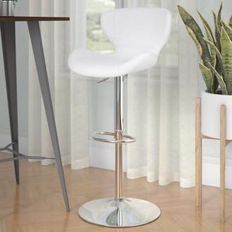 Orren Ellis Oakgrove Swivel Adjustable Height Bar Stool Seat Color: White