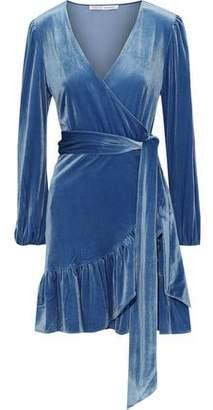 Rebecca Minkoff Karis Ruffled Velvet Mini Wrap Dress
