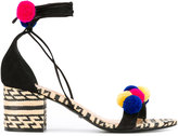 Schutz contrast sandals - women - Cotton/Raffia/Leather/Suede - 38