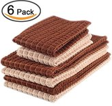 Kleanner 6 Packs Microfiber Kitchen Dish Cloth and Towel Set, Two Dish Cloth With Mesh Scour Side 12 x 12 Inch, Four Dish Towels 16 x 19 Inch, Absorbent and Fast Dry ( Dark and Light Brown Colors)