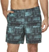 Marc Anthony Men's Slim-Fit Checked Aqua Swim Shorts