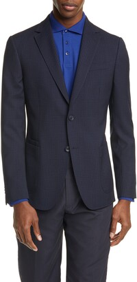 Ermenegildo Zegna Trim Fit Plaid Stretch Wool Sport Coat