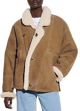 Sandro Sherly Leather & Shearling Coat