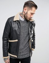 Asos Fleece Lined Leather Jacket In Black