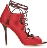 Malone Souliers Savannah lace-up velvet sandals